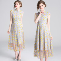 Dress Summer of 2019 Grey lace yellow print (Pearl buckle side zipper) S,M,L,XL,2XL Mid length dress Short sleeve street stand collar other Others 30-34 years old Lace