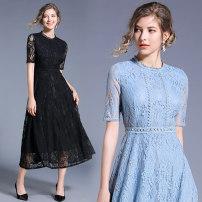 Dress Summer 2020 Black (back zipper), blue (back zipper) S,M,L,XL,2XL Mid length dress singleton  commute middle-waisted Type A 51% (inclusive) - 70% (inclusive) Lace