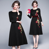 Dress Spring 2020 Black (embroidered back zipper lining with velvet stitching at waist) M,L,XL,2XL Mid length dress Long sleeves Crew neck High waist routine Embroidery, stitching