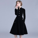 Dress Spring 2021 Black (gold button side zipper pocket with lining) S,M,L,XL,2XL longuette singleton  Long sleeves street stand collar middle-waisted Solid color Single breasted Big swing routine Others Type A Buttons, pockets, zippers