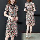 Dress Summer 2020 S,M,L,XL,2XL,3XL Mid length dress Short sleeve commute Doll Collar middle-waisted Decor zipper A-line skirt routine Type A Korean version