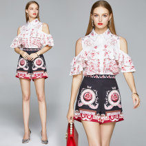 Fashion suit Summer 2020 M (pants side zipper 2 pockets), l (pants side zipper 2 pockets), XL (pants side zipper 2 pockets), XXL (pants side zipper 2 pockets) Off shoulder 2-layer lotus sleeve buckle + positioning Print Shorts 25-35 years old 96% and above