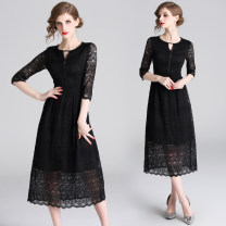 Dress Autumn 2020 black M,L,XL,2XL longuette singleton  Long sleeves commute Crew neck middle-waisted Solid color Socket A-line skirt routine 35-39 years old Type A Lace Lace polyester fiber