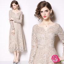 Dress Spring 2021 Apricot (eyelash lace) double V-Neck long sleeve back zipper S,M,L,XL,2XL Mid length dress V-neck middle-waisted Type A Lace