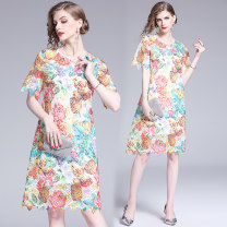 Dress Summer 2020 Color printing and dyeing hollow out hook Lace + suspender skirt longuette Two piece set Short sleeve street Crew neck Loose waist Decor A-line skirt Type A Europe and America