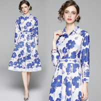 Dress Spring 2021 Denim blue printed side zipper with sunflower pattern M,L,XL,2XL Mid length dress singleton  Nine point sleeve Polo collar middle-waisted Single breasted shirt sleeve 25-29 years old polyester fiber