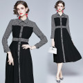 Dress Autumn 2020 black M,L,XL,2XL,3XL longuette singleton  Long sleeves commute Polo collar High waist lattice Single breasted Big swing routine Others 51% (inclusive) - 70% (inclusive) other