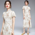 Dress Summer 2020 Chiffon heavy industry embroidered pearl buckle back zipper S,M,L,XL,2XL Mid length dress singleton  Short sleeve commute stand collar High waist Decor zipper A-line skirt puff sleeve Others 25-29 years old Type A Retro 31% (inclusive) - 50% (inclusive) cotton