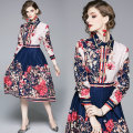 Dress Autumn of 2019 Blue (positioning printed side zipper fold swing) M,L,XL,2XL Middle-skirt other Long sleeves street Polo collar middle-waisted Decor other Big swing routine Others 35-39 years old Type A other Cellulose acetate Europe and America