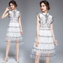 Dress Summer 2020 White (mesh) Black Sequin Beaded side zipper S (2 layers of auricular Ruffle sleeves), m (neckline tie bow design), l (black lace stitching at the neckline sleeves), XL (3 layers of hem mesh + Lace + lining), XXL (3 layers of hem mesh + Lace + lining) Middle-skirt singleton  Sweet