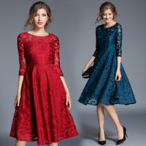 Dress Spring 2021 Red, blue, black S,M,L,XL,2XL,3XL,4XL,5XL Mid length dress singleton  three quarter sleeve commute Crew neck middle-waisted Solid color zipper Big swing other 35-39 years old Type A