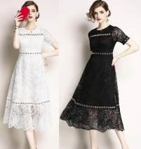 Dress Summer of 2019 White (short sleeve metal ring decoration), black (round neck high waist swing skirt) S,M,L,XL,2XL Mid length dress singleton  Short sleeve street Crew neck middle-waisted Solid color zipper other routine Others Type A Lace Europe and America