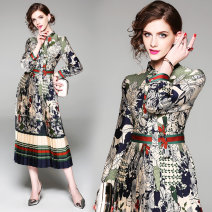 Dress Spring 2021 Mid length dress singleton  Long sleeves street stand collar middle-waisted other Others Type A printing Europe and America