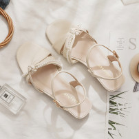 Sandals 35,36,37,38,39 Pruning apricot Superfine fiber Jin Zhuhua Barefoot Flat bottom Low heel (1-3cm) Summer 2021 Flat buckle Korean version Solid color Adhesive shoes Youth (18-40 years old) rubber daily Back space Low Gang Hollow Microfiber skin Microfiber skin Q21-D0404 Fashion sandals Shaving