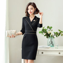 Dress Summer of 2019 Black dress, blue dress S,M,L,XL,2XL,3XL,4XL Middle-skirt singleton  elbow sleeve commute tailored collar middle-waisted other zipper A-line skirt other Others 25-29 years old Type X Ol style More than 95% other polyester fiber
