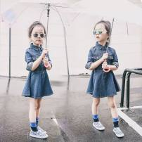 Dress Denim female Other / other Other 100% spring and autumn Korean version Long sleeves Solid color other A-line skirt 12 months, 18 months, 2 years old, 3 years old, 4 years old, 5 years old, 6 years old, 7 years old, 8 years old Chinese Mainland Guangdong Province Dongguan City