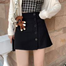 skirt Spring 2021 S,M,L Black, black pre-sale 6-8 working days Short skirt commute High waist A-line skirt Solid color Type A 18-24 years old L325 other Simplicity