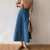 skirt Summer 2020 S, M blue Mid length dress commute High waist A-line skirt Solid color Type A 18-24 years old 71% (inclusive) - 80% (inclusive) Denim cotton Button, zipper Korean version