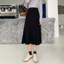 skirt Winter 2020 Average size Black, apricot, brown Mid length dress commute High waist A-line skirt Solid color Type A 18-24 years old 71% (inclusive) - 80% (inclusive) other nylon Korean version