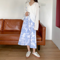 skirt Autumn 2020 Average size blue and white color Mid length dress commute High waist A-line skirt other Type A 18-24 years old 71% (inclusive) - 80% (inclusive) polyester fiber Korean version
