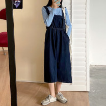 Dress Winter 2020 blue S,M,L longuette singleton  Sleeveless commute High waist Solid color Socket A-line skirt Others 18-24 years old Type A Korean version 71% (inclusive) - 80% (inclusive) Denim cotton