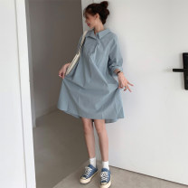 Dress Summer 2020 white Average size Mid length dress singleton  Short sleeve commute Polo collar Loose waist Solid color Three buttons other routine Others 18-24 years old Type H Korean version Button 71% (inclusive) - 80% (inclusive) polyester fiber