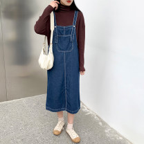 Dress Winter 2020 blue S,M,L longuette singleton  Sleeveless commute High waist Solid color Socket A-line skirt straps 18-24 years old Type H Korean version straps 71% (inclusive) - 80% (inclusive) Denim cotton
