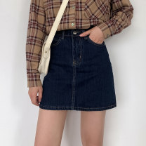 skirt Summer 2021 S,M,L,XL blue Middle-skirt commute High waist A-line skirt Solid color Type A 18-24 years old 71% (inclusive) - 80% (inclusive) Denim cotton Button, pocket, zipper, thread trim Korean version