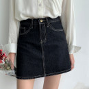 skirt Spring 2020 S,M,L Black, dark blue, light blue Short skirt commute High waist A-line skirt Solid color Type A 18-24 years old 71% (inclusive) - 80% (inclusive) Denim cotton Pocket, decorative thread, button, zipper Korean version