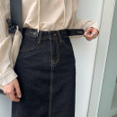 skirt Summer 2020 S,M,L black Mid length dress commute High waist A-line skirt Solid color Type A 18-24 years old 71% (inclusive) - 80% (inclusive) Denim cotton Pocket, button, zipper Korean version
