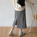 skirt Spring 2021 S,M,L Black and white check longuette commute High waist A-line skirt lattice Type A 18-24 years old 71% (inclusive) - 80% (inclusive) other cotton zipper Korean version