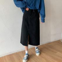 skirt Spring 2021 S,M,L black longuette commute High waist A-line skirt Solid color Type A 18-24 years old 71% (inclusive) - 80% (inclusive) Denim cotton pocket Korean version