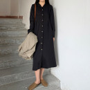 Dress Autumn 2020 black Average size Mid length dress singleton  Long sleeves commute tailored collar Loose waist Solid color Single breasted A-line skirt shirt sleeve Others 18-24 years old Type A Korean version Button 71% (inclusive) - 80% (inclusive) other polyester fiber