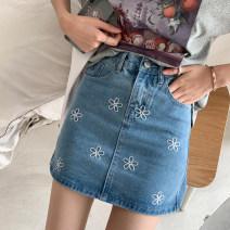 skirt Summer of 2019 S,M,L blue Short skirt commute High waist A-line skirt Type A 18-24 years old 51% (inclusive) - 70% (inclusive) Denim polyester fiber Korean version