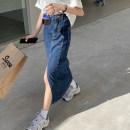 skirt Summer 2020 S,M,L Light blue, dark blue Mid length dress commute High waist Irregular Solid color Type A 18-24 years old 71% (inclusive) - 80% (inclusive) Denim cotton Pocket, asymmetric, button, worn, zipper Korean version