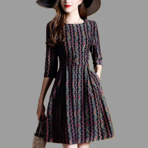 Dress Autumn of 2018 Decor S,M,L,XL,2XL Middle-skirt singleton  three quarter sleeve commute Crew neck middle-waisted stripe Socket A-line skirt routine Others 35-39 years old Type A Other / other lady Fold, pocket, zipper, print