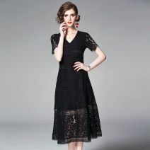 Dress Summer of 2019 black M,L,XL,2XL longuette singleton  Short sleeve street V-neck middle-waisted Solid color zipper A-line skirt routine Others 40-49 years old Type A Lace, hollow, Gouhua, hollow, splicing, zipper, tassel 81% (inclusive) - 90% (inclusive) Lace polyester fiber Europe and America