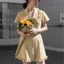 Dress Summer 2020 Yellow, green S,M,L Mid length dress singleton  Short sleeve Sweet V-neck High waist Solid color Single breasted A-line skirt routine Others 18-24 years old Type X EGGKA fungus 81% (inclusive) - 90% (inclusive) cotton solar system