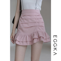 skirt Spring 2021 S,M,L,XL White, black, blue, pink, size chart Short skirt commute High waist A-line skirt Solid color Type A 18-24 years old B21144-F 71% (inclusive) - 80% (inclusive) EGGKA cotton Fold, asymmetric Korean version