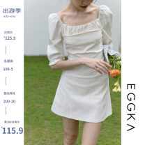 Dress Spring 2021 S,M,L Short skirt singleton  Short sleeve commute square neck High waist Solid color Socket A-line skirt other 18-24 years old Type X EGGKA Simplicity 71% (inclusive) - 80% (inclusive)