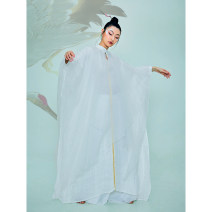Dress Autumn 2020 Off white, off white S,M,L longuette singleton  Sleeveless commute stand collar Loose waist Solid color A button Irregular skirt Bat sleeve Others 35-39 years old Type H Poetry of Huachun literature HC2014 More than 95% hemp