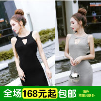 Dress Autumn of 2018 Black, white, grey Average size Short skirt commute Breast wrapping Type H Other / other Korean version 30% and below brocade cotton