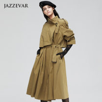 Windbreaker Autumn of 2019 S,M,L Sokhaki Long sleeves routine have more cash than can be accounted for commute double-breasted square neck routine Solid color Self cultivation Britain JAZZEVAR 25-29 years old Lace up, epaulet 96% and above cotton cotton cotton