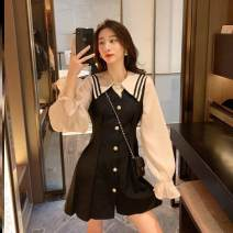 Dress Spring 2021 A88 Black Patchwork dress S,M,L,XL Middle-skirt singleton  Long sleeves commute Polo collar High waist Solid color Socket A-line skirt routine Others 18-24 years old Other / other Korean version Button L83784 other polyester fiber