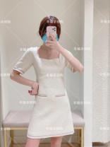 Dress Autumn 2020 white 34,36,38,40 Short skirt singleton  Short sleeve commute square neck High waist Solid color Socket A-line skirt routine 25-29 years old Type A MAJE MFPRO01657 polyester fiber
