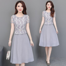Dress Summer 2021 Blue, gray, pink M. L, XL, 2XL, 3XL, 4XL, take a picture, give a small gift, increase the price immediately Middle-skirt Fake two pieces Short sleeve commute Crew neck middle-waisted Solid color zipper Pleated skirt routine Others Korean version Lace, asymmetric Lace
