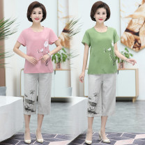 Middle aged and old women's wear Summer 2020 XL [90-105 kg recommended], 2XL [105-120 kg recommended], 3XL [120-135 kg recommended], 4XL [135-150 kg recommended], 5XL [150-165 kg recommended] leisure time suit Two piece set Decor 50-59 years old Socket thin Crew neck routine routine 96% and above
