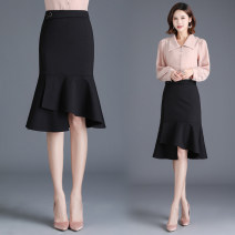 skirt Autumn 2020 M [2-foot-1], l [2-foot-1], XL [2-foot-2], 2XL [2-foot-3], 3XL [2-foot-4], 4XL [2-foot-5] black Middle-skirt commute High waist Flower bud skirt Solid color Type X 30-34 years old Qz65-9927 black fishtail skirt with flower bud 51% (inclusive) - 70% (inclusive) other polyester fiber