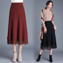 skirt Winter of 2019 One size fits all [1'9-2'5 recommended] Black, red, grey Mid length dress Versatile Natural waist A-line skirt Solid color Type A 30-34 years old Qz63-7128 elastic waist lace knitted wool skirt More than 95% New European clothes