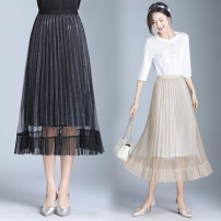 skirt Spring 2020 One size fits all Black, apricot longuette Versatile Natural waist Pleated skirt other Type A 25-29 years old Qz53-908 elastic waist lace Pleated Dress More than 95% Lace New European clothes